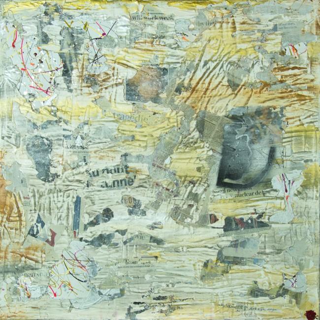 Technique mixte : collage, plâtre, liant, matière naturelle, acrylique. Constat d'un climat social et sociétale à bout de souffle. Entre peur et rejet.